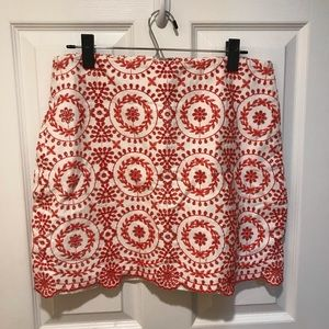 LOFT Embroidered Lace Shift Skirt